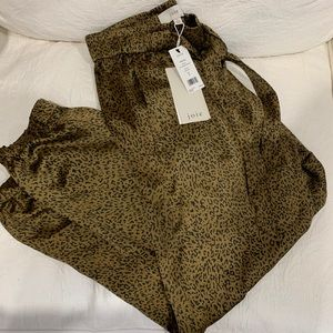 Joie Sequoya Leopard Satin Joggers NEW, WITH TAGS